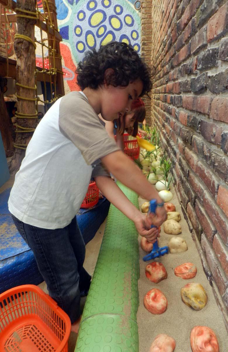Los niños pueden sembrar y cultivar las verduras, como en un verdadero huerto.
